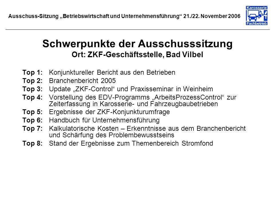 Ausschuss-Sitzung Betriebswirtschaft und Unternehmensführung 21./22. November 2006 Schwerpunkte der Ausschusssitzung Ort: ZKF-Geschäftsstelle, Bad Vil