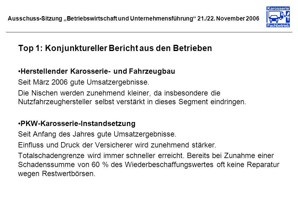 Ausschuss-Sitzung Betriebswirtschaft und Unternehmensführung 21./22. November 2006 Top 1: Konjunktureller Bericht aus den Betrieben Herstellender Karo