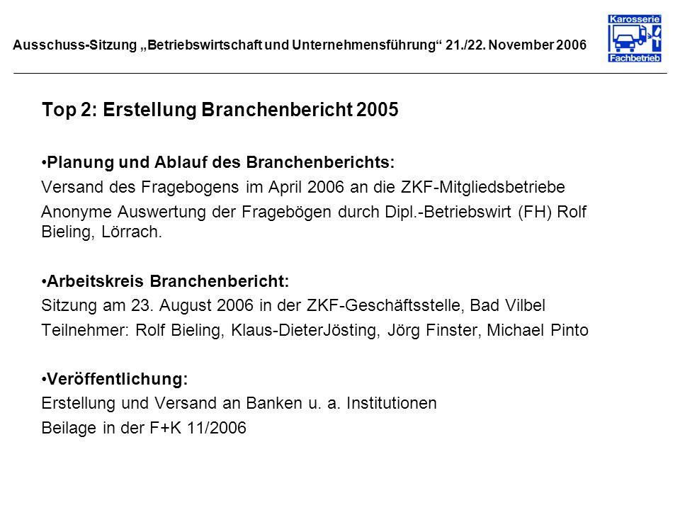 Ausschuss-Sitzung Betriebswirtschaft und Unternehmensführung 21./22. November 2006 Top 2: Erstellung Branchenbericht 2005 Planung und Ablauf des Branc