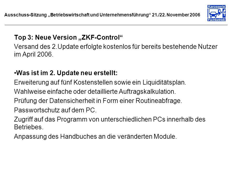 Ausschuss-Sitzung Betriebswirtschaft und Unternehmensführung 21./22. November 2006 Top 3: Neue Version ZKF-Control Versand des 2.Update erfolgte koste