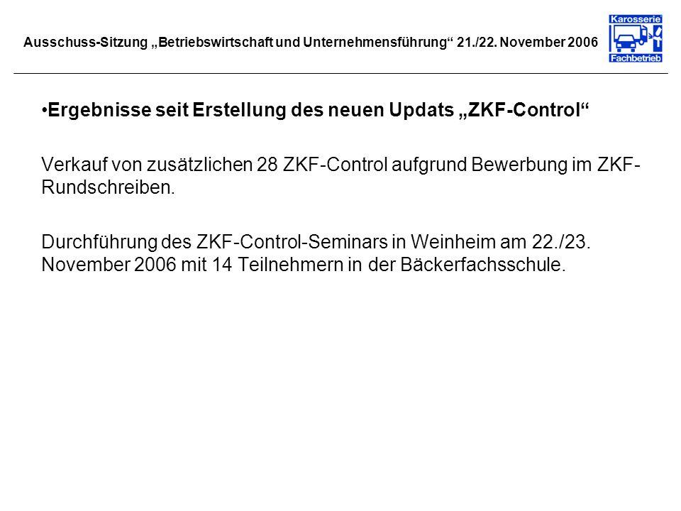 Ausschuss-Sitzung Betriebswirtschaft und Unternehmensführung 21./22. November 2006 Ergebnisse seit Erstellung des neuen Updats ZKF-Control Verkauf von