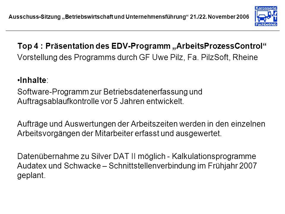 Ausschuss-Sitzung Betriebswirtschaft und Unternehmensführung 21./22. November 2006 Top 4 : Präsentation des EDV-Programm ArbeitsProzessControl Vorstel