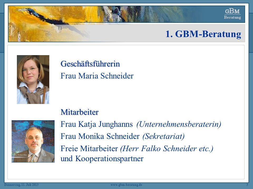 Donnerstag, 11. Juli 2013www.gbm-beratung.de3 Geschäftsführerin Frau Maria SchneiderMitarbeiter Frau Katja Junghanns (Unternehmensberaterin) Frau Moni