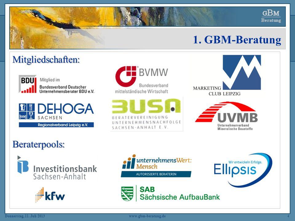 Donnerstag, 11. Juli 2013www.gbm-beratung.de4 1. GBM-Beratung Mitgliedschaften:Beraterpools: