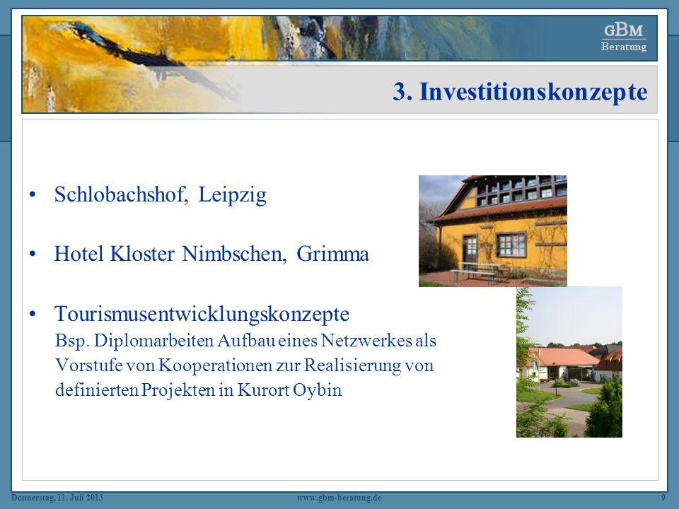 Donnerstag, 11. Juli 2013www.gbm-beratung.de9 3. Investitionskonzepte Schlobachshof, Leipzig Hotel Kloster Nimbschen, Grimma Tourismusentwicklungskonz
