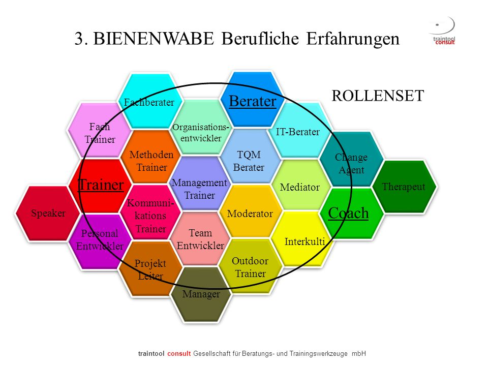 Trainer Berater Coach Mediator Therapeut IT-Berater Fachberater Organisations- entwickler TQM Berater Fach Trainer Methoden Trainer Management Trainer