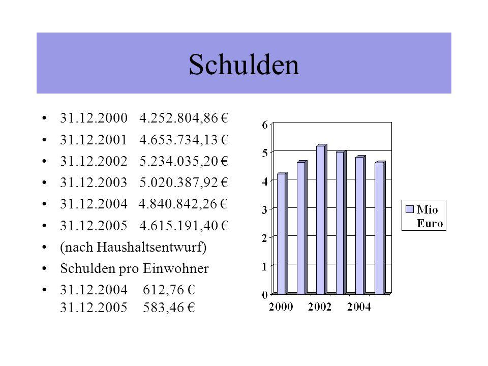 Neue Kreditaufnahme 2004 Kreisschulbaukasse geplant laut Haushalt55.000 tatsächlich62.000 Freier Kreditmarkt geplant laut Haushalt0 tatsächlich0