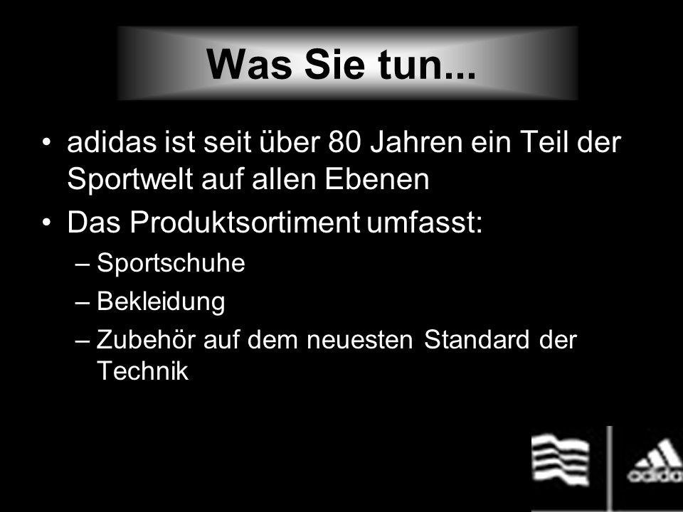Was Sie tun... adidas ist seit über 80 Jahren ein Teil der Sportwelt auf allen Ebenen Das Produktsortiment umfasst: –Sportschuhe –Bekleidung –Zubehör