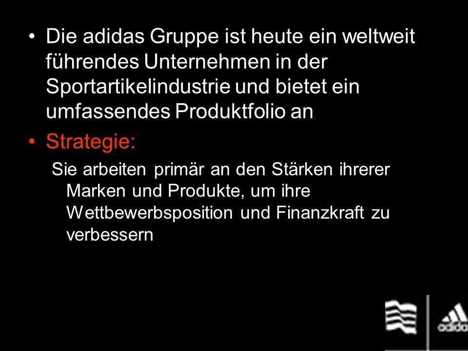 Markennamen adidas TaylorMade-adidas Golf Maxfli Reebok adidas Gruppe hat ihren Sitz in Herzogenaurach, Deutschland --- 80 Tochterunternehmen > 25 000 Mitarbeiter