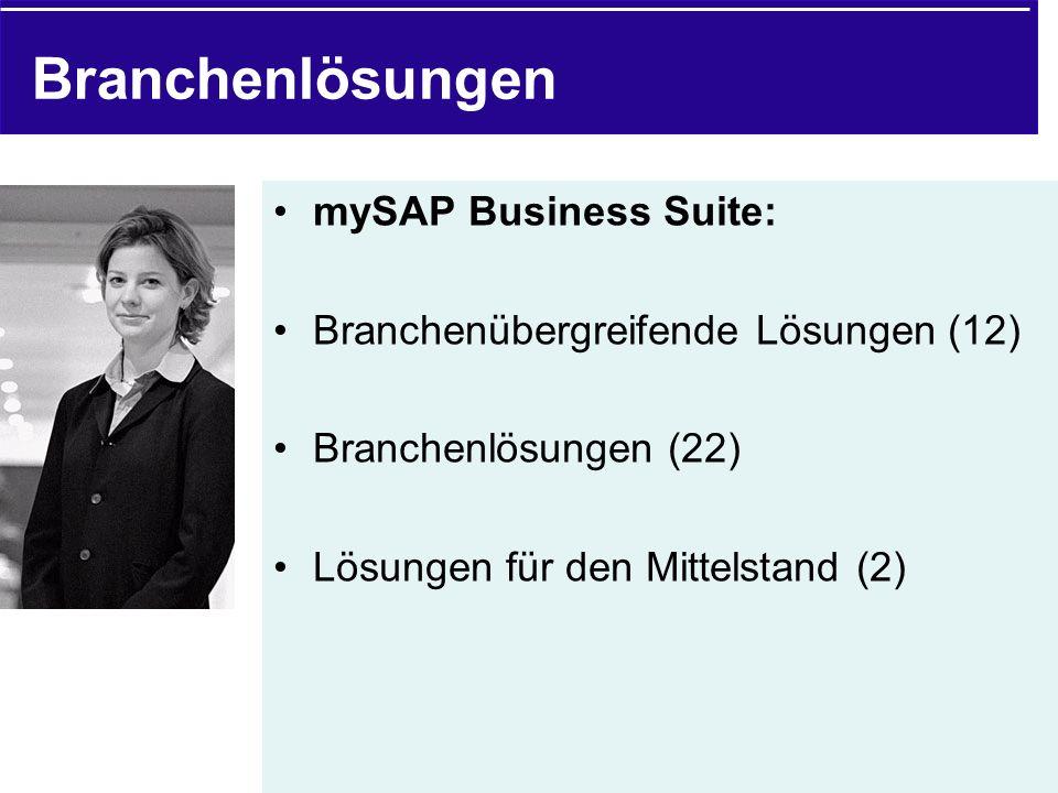 Branchenlösungen mySAP Business Suite: Branchenübergreifende Lösungen (12) Branchenlösungen (22) Lösungen für den Mittelstand (2)