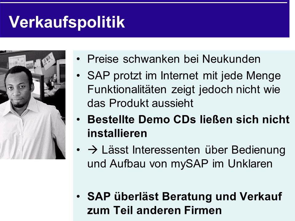 Verkaufspolitik Preise schwanken bei Neukunden SAP protzt im Internet mit jede Menge Funktionalitäten zeigt jedoch nicht wie das Produkt aussieht Best