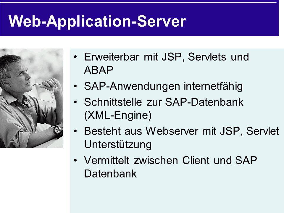 Web-Application-Server Erweiterbar mit JSP, Servlets und ABAP SAP-Anwendungen internetfähig Schnittstelle zur SAP-Datenbank (XML-Engine) Besteht aus W