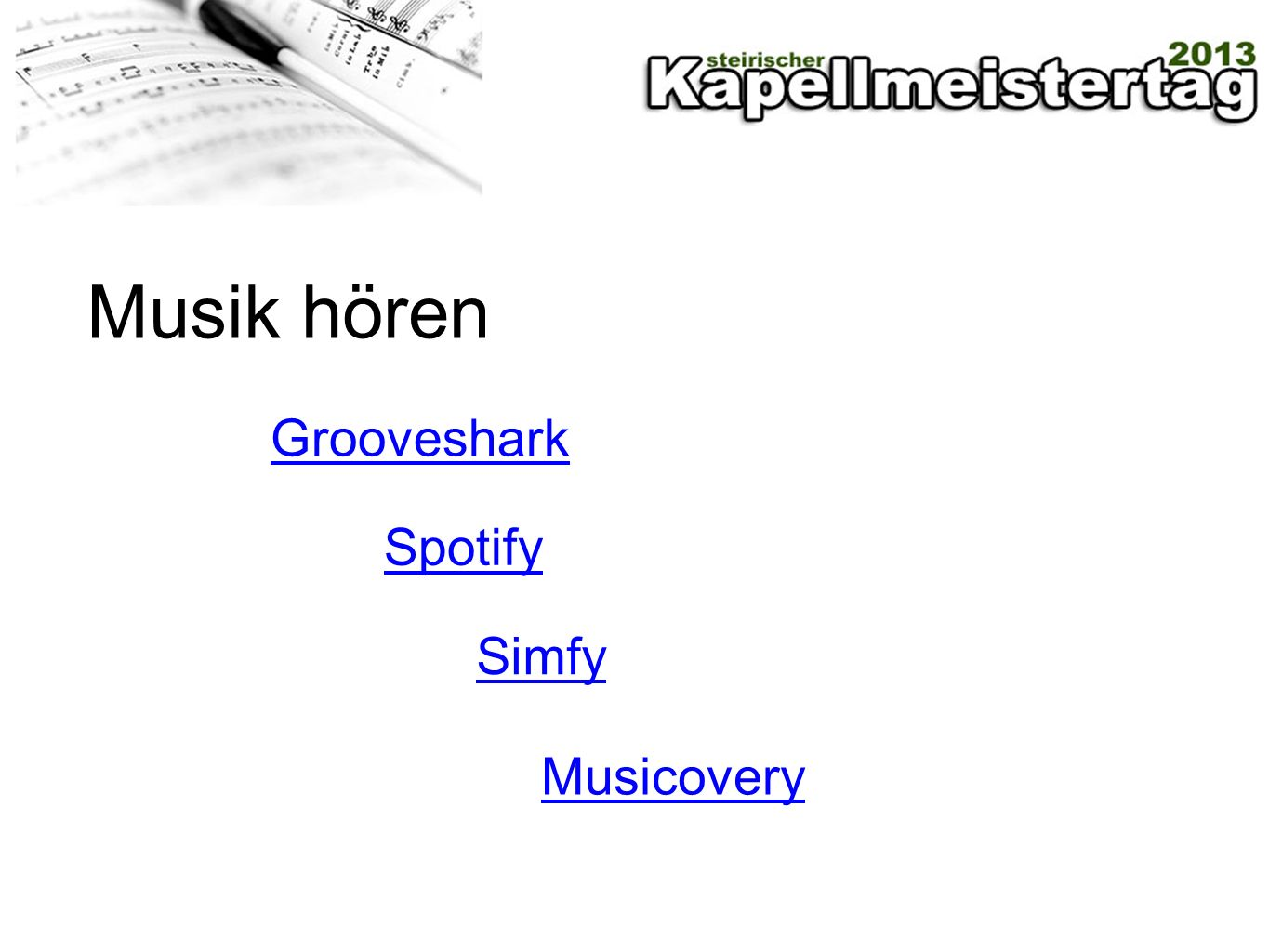 Musik hören Grooveshark Spotify Simfy Musicovery