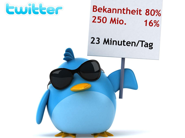 Bekanntheit 80% 250 Mio. 16% 23 Minuten/Tag