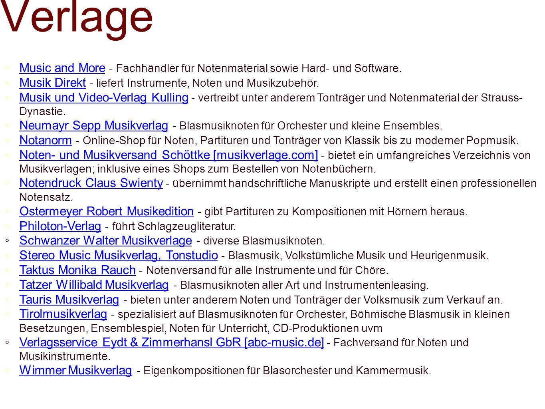 Verlage Music and More - Fachhändler für Notenmaterial sowie Hard- und Software.Music and More Musik Direkt - liefert Instrumente, Noten und Musikzube