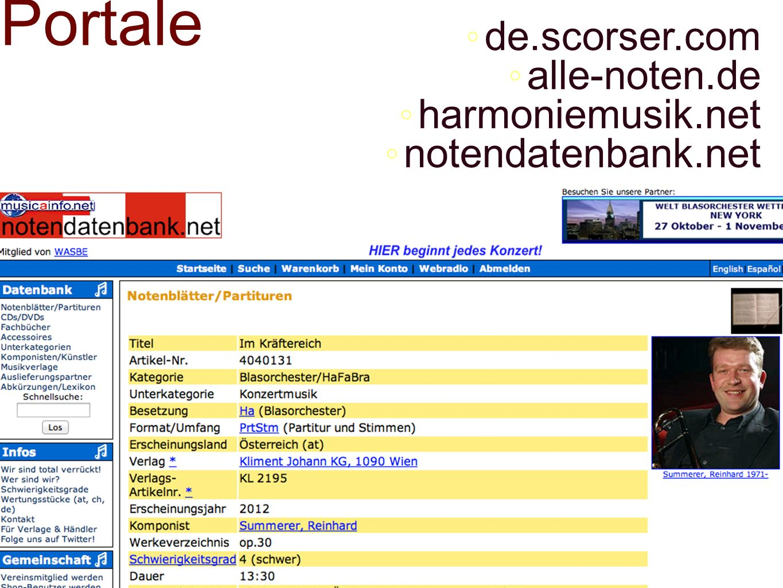 Portale de.scorser.com alle-noten.de harmoniemusik.net notendatenbank.net