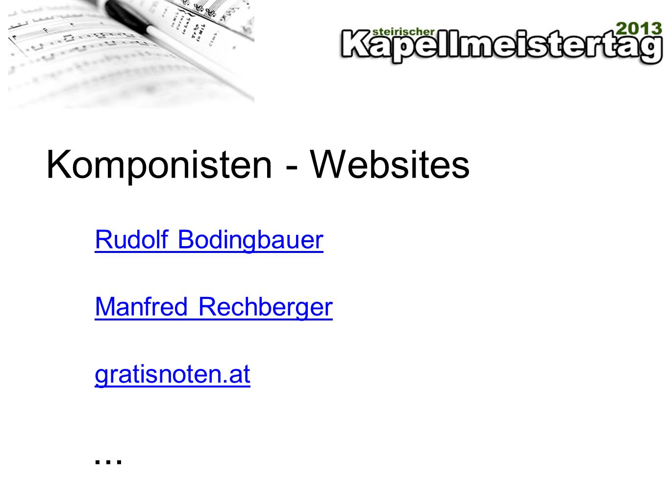 Komponisten - Websites Rudolf Bodingbauer Manfred Rechberger gratisnoten.at...