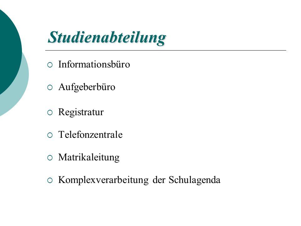 Studienabteilung Informationsbüro Aufgeberbüro Registratur Telefonzentrale Matrikaleitung Komplexverarbeitung der Schulagenda