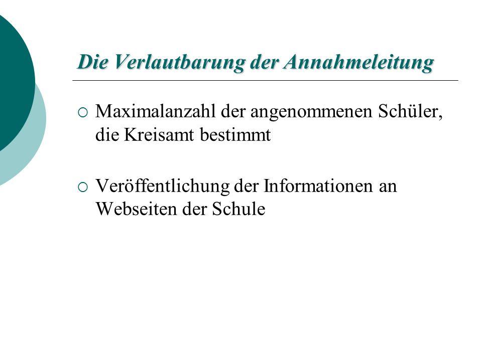 Die Verlautbarung der Annahmeleitung Maximalanzahl der angenommenen Schüler, die Kreisamt bestimmt Veröffentlichung der Informationen an Webseiten der