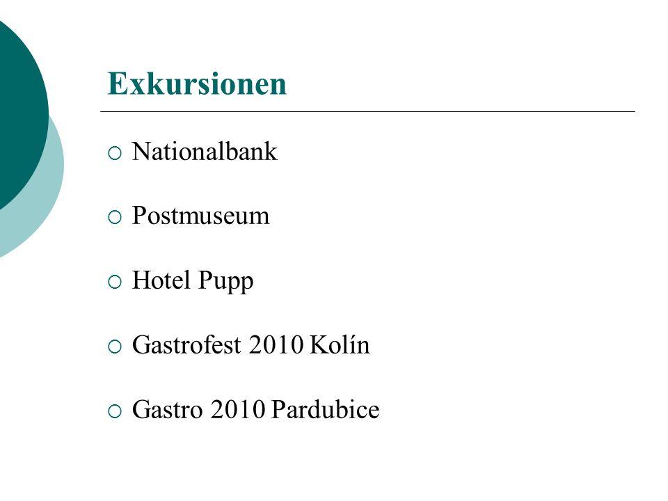 Exkursionen Nationalbank Postmuseum Hotel Pupp Gastrofest 2010 Kolín Gastro 2010 Pardubice