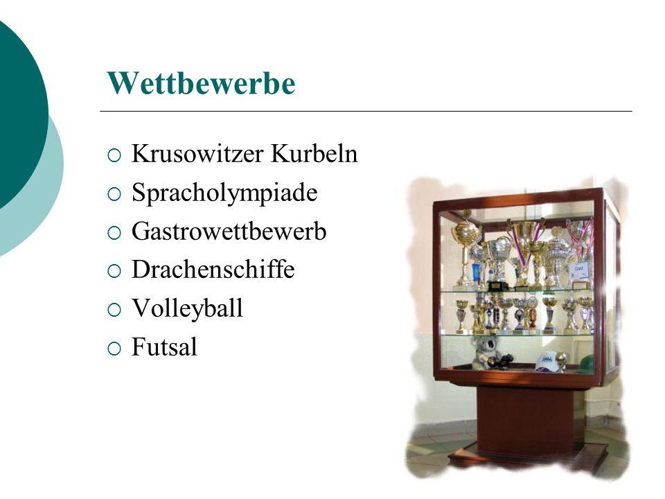 Wettbewerbe Krusowitzer Kurbeln Spracholympiade Gastrowettbewerb Drachenschiffe Volleyball Futsal