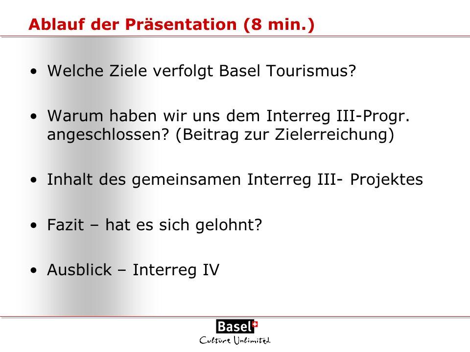 Ablauf der Präsentation (8 min.) Welche Ziele verfolgt Basel Tourismus? Warum haben wir uns dem Interreg III-Progr. angeschlossen? (Beitrag zur Zieler