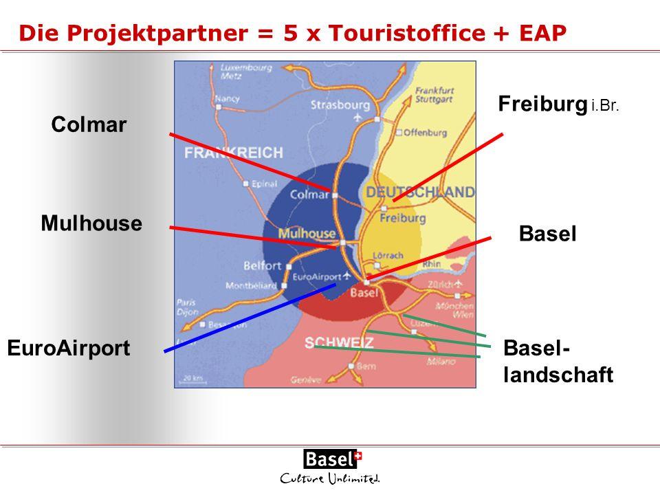 Colmar Mulhouse EuroAirport Die Projektpartner = 5 x Touristoffice + EAP Freiburg i.Br. Basel Basel- landschaft