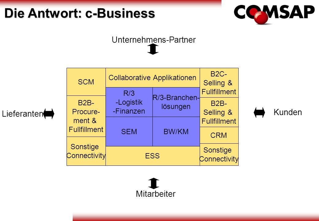 R/3 -Logistik -Finanzen R/3-Branchen- lösungen SEMBW/KM ESS Collaborative Applikationen B2C- Selling & Fullfillment B2B- Selling & Fullfillment CRM So
