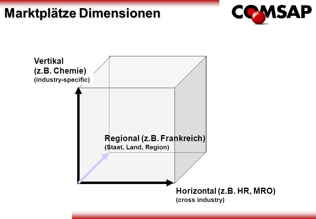 Vertikal (z.B. Chemie) (industry-specific) Horizontal (z.B. HR, MRO) (cross industry) Regional (z.B. Frankreich) (Staat, Land, Region) Marktplätze Dim