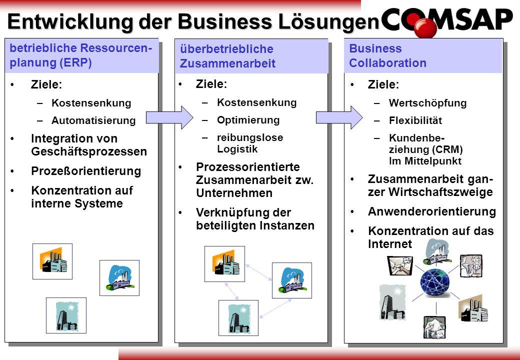Entwicklung der Business Lösungen betriebliche Ressourcen- planung (ERP) Ziele: – –Kostensenkung – –Automatisierung Integration von Geschäftsprozessen