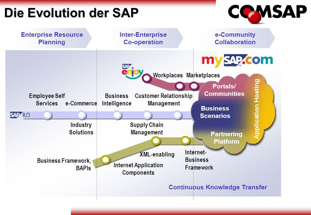 Employee Self Services Business Intelligence Supply Chain Management Customer Relationship Management Workplaces Business Framework, BAPIs XML-enablin