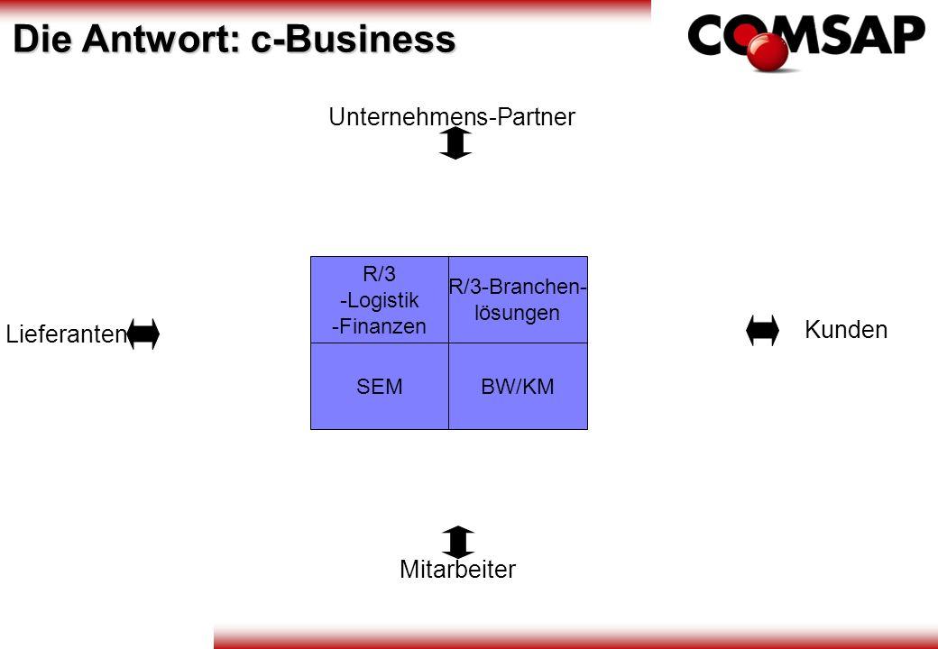 R/3 -Logistik -Finanzen R/3-Branchen- lösungen SEMBW/KM Unternehmens-Partner Kunden Lieferanten Mitarbeiter Die Antwort: c-Business