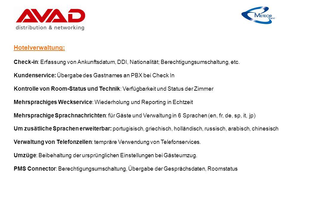 Hotelverwaltung: Check-in: Erfassung von Ankunftsdatum, DDI, Nationalität; Berechtigungsumschaltung, etc.