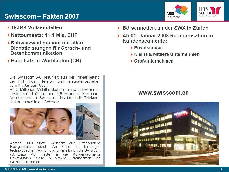 © IDS Scheer AG www.ids-scheer.com 3 Swisscom – Fakten 2007 19.844 Vollzeitstellen Nettoumsatz: 11.1 Mia. CHF Schweizweit präsent mit allen Dienstleis
