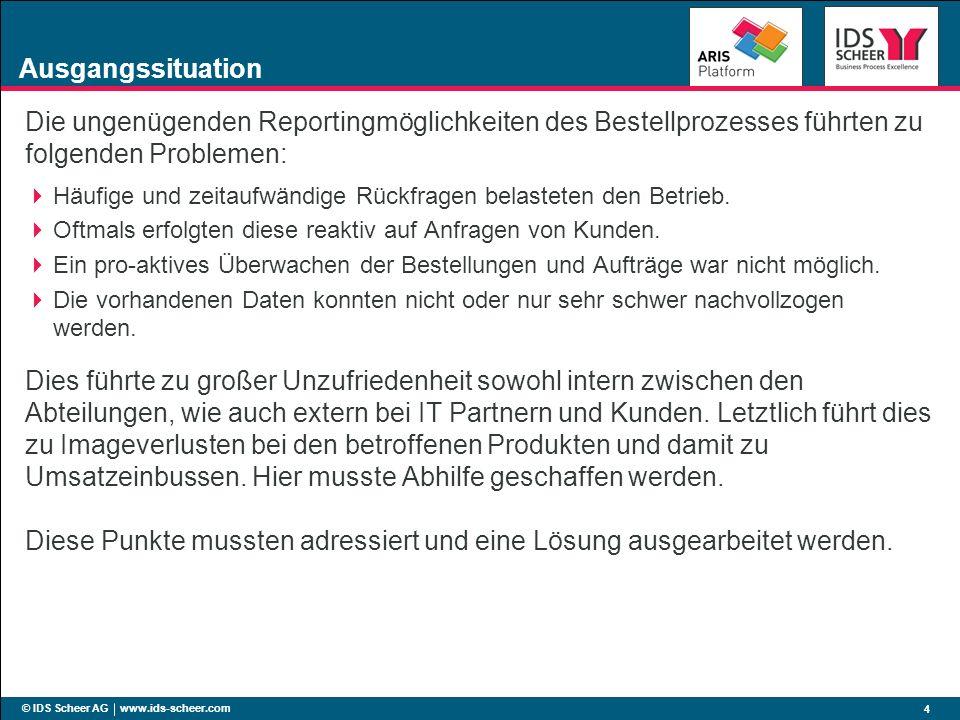 © IDS Scheer AG www.ids-scheer.com 4 Ausgangssituation Die ungenügenden Reportingmöglichkeiten des Bestellprozesses führten zu folgenden Problemen: Hä