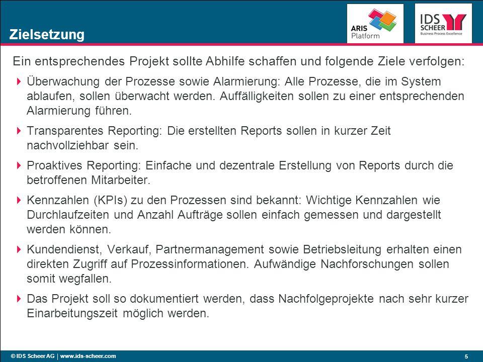 © IDS Scheer AG www.ids-scheer.com 5 Zielsetzung Ein entsprechendes Projekt sollte Abhilfe schaffen und folgende Ziele verfolgen: Überwachung der Proz