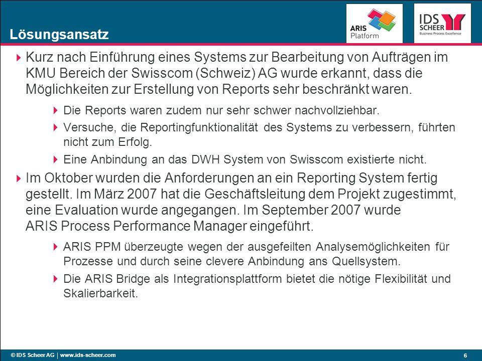 © IDS Scheer AG www.ids-scheer.com 6 Lösungsansatz Kurz nach Einführung eines Systems zur Bearbeitung von Aufträgen im KMU Bereich der Swisscom (Schwe
