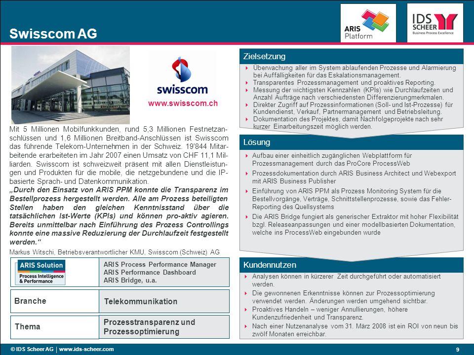 Kundennutzen Lösung Zielsetzung Branche Thema © IDS Scheer AG www.ids-scheer.com 9 Swisscom AG Überwachung aller im System ablaufenden Prozesse und Al