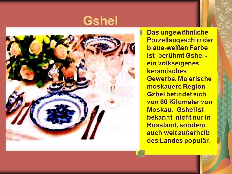Gshel Das ungewöhnliche Porzellangeschirr der blaue-weißen Farbe ist berühmt Gshel - ein volkseigenes keramisches Gewerbe.