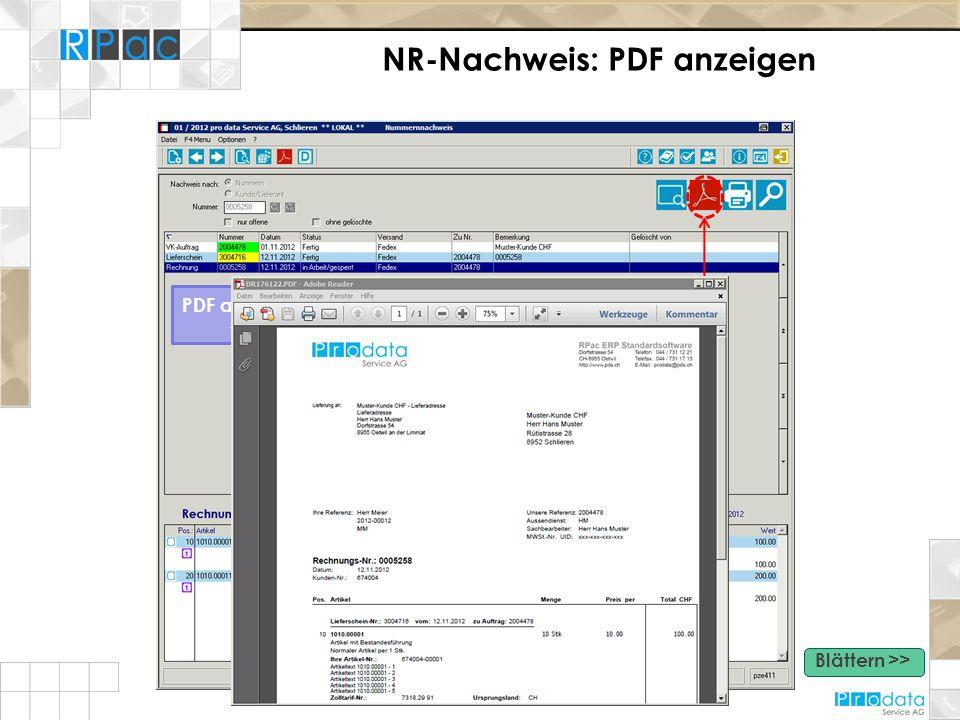NR-Nachweis: PDF anzeigen PDF anzeigen - Aufbereiten von PDF Dokumenten Blättern >>