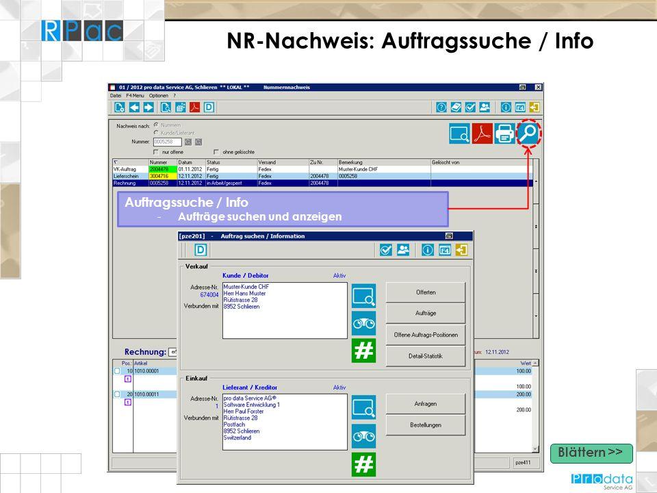 NR-Nachweis: Auftragssuche / Info Auftragssuche / Info - Aufträge suchen und anzeigen Blättern >>
