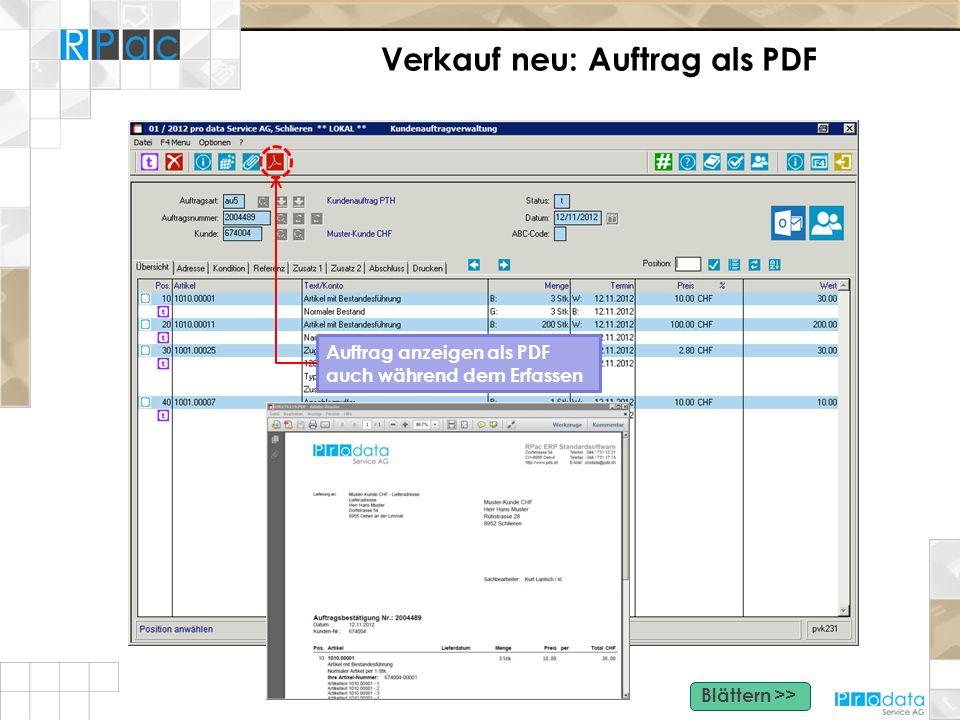 Verkauf neu: Auftrag als PDF Auftrag anzeigen als PDF auch während dem Erfassen Blättern >>