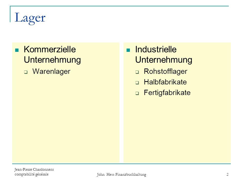Jean-Pierre Chardonnens comptabilité générale John Hess Finanzbuchhaltung 2 Lager Kommerzielle Unternehmung Warenlager Industrielle Unternehmung Rohst