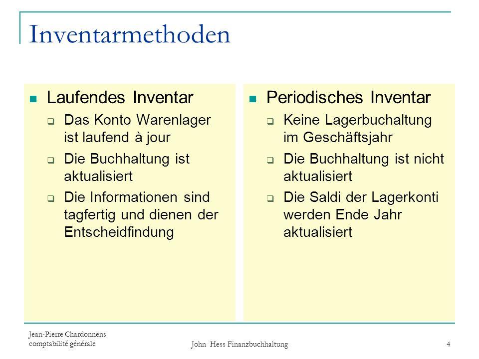 Jean-Pierre Chardonnens comptabilité générale John Hess Finanzbuchhaltung 4 Inventarmethoden Laufendes Inventar Das Konto Warenlager ist laufend à jou