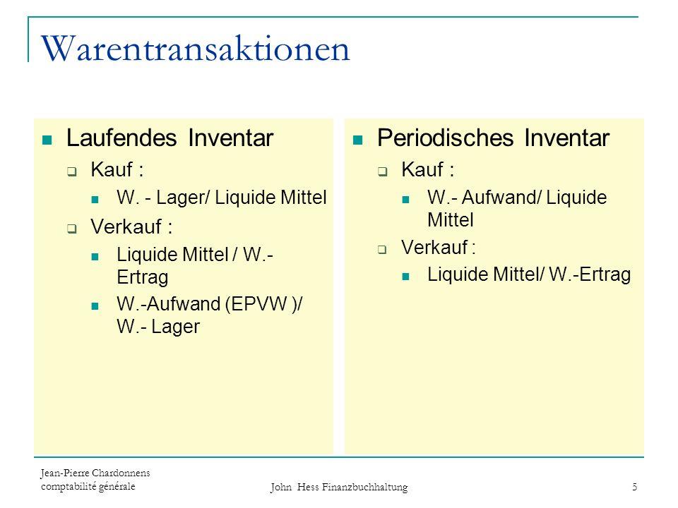 Jean-Pierre Chardonnens comptabilité générale John Hess Finanzbuchhaltung 5 Warentransaktionen Laufendes Inventar Kauf : W. - Lager/ Liquide Mittel Ve