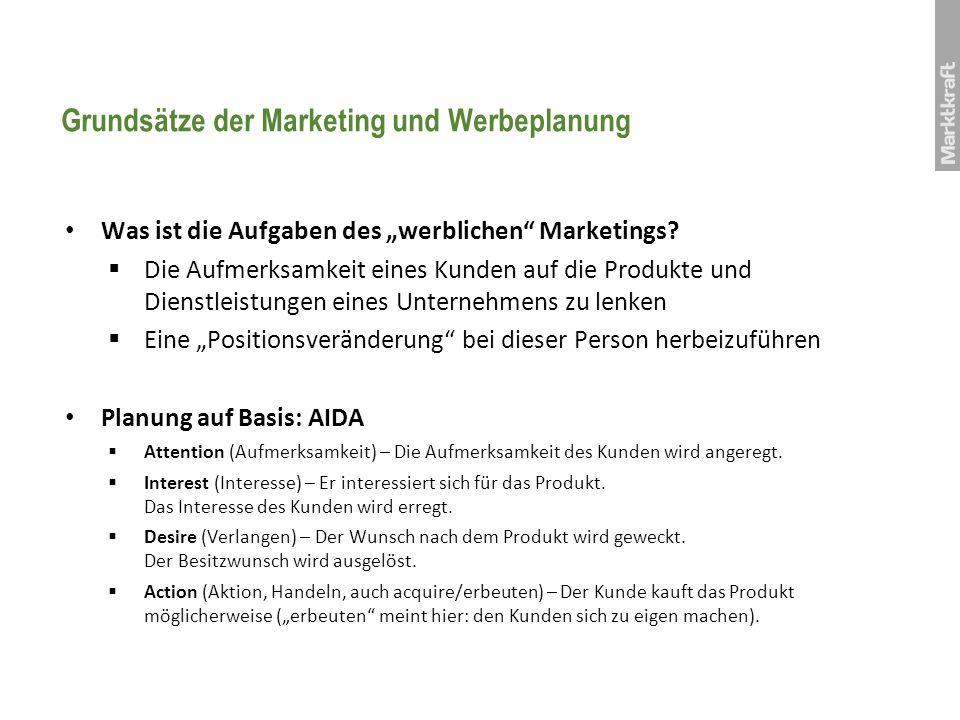 Grundsätze der Marketing und Werbeplanung Was ist die Aufgaben des werblichen Marketings? Die Aufmerksamkeit eines Kunden auf die Produkte und Dienstl