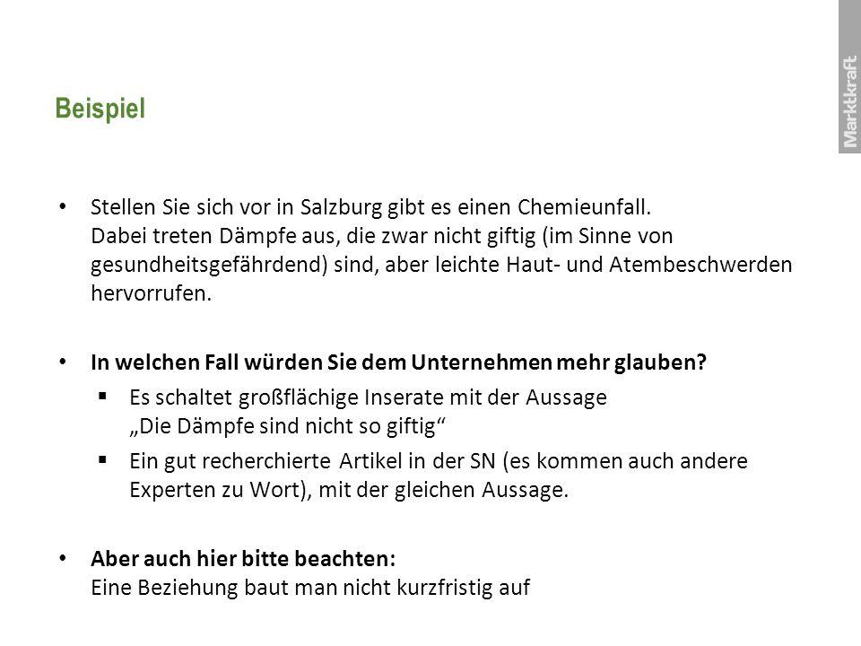 Beispiel Stellen Sie sich vor in Salzburg gibt es einen Chemieunfall. Dabei treten Dämpfe aus, die zwar nicht giftig (im Sinne von gesundheitsgefährde