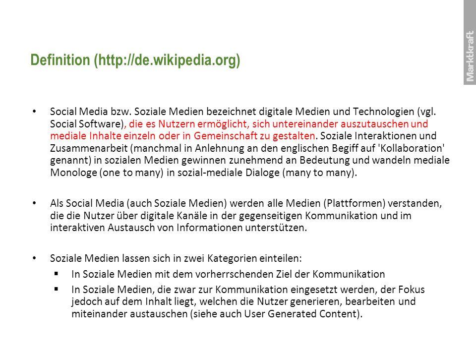 Definition (http://de.wikipedia.org) Social Media bzw. Soziale Medien bezeichnet digitale Medien und Technologien (vgl. Social Software), die es Nutze