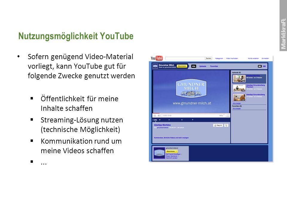 Nutzungsmöglichkeit YouTube Sofern genügend Video-Material vorliegt, kann YouTube gut für folgende Zwecke genutzt werden Öffentlichkeit für meine Inha
