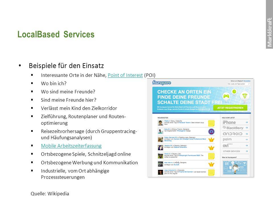 LocalBased Services Beispiele für den Einsatz Interessante Orte in der Nähe, Point of Interest (POI)Point of Interest Wo bin ich? Wo sind meine Freund